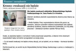 Rzecznik praw pacjenta pisze do lekarzy z szpitala w Krośnie