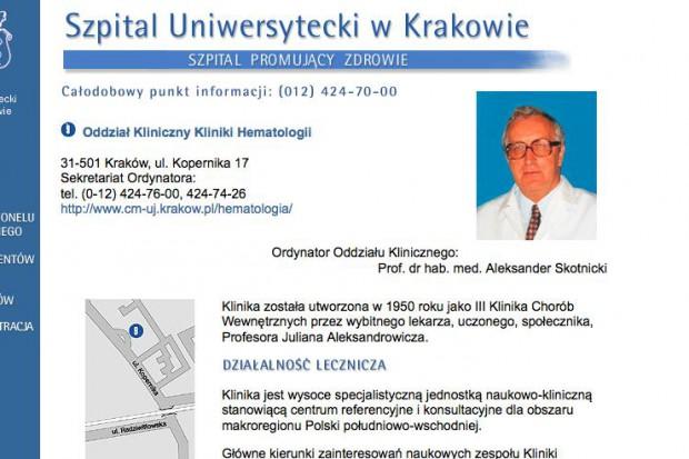Kraków: 600 transplantacji komórek macierzystych szpiku