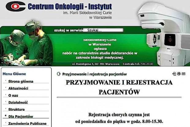 Warszawa: w Centrum Onkologii będzie normalnie, ale... za kilka lat