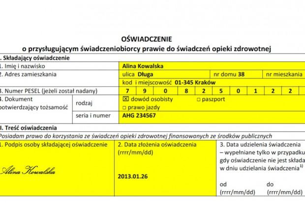 MZ: wzór oświadczenia o prawie pacjenta do świadczeń