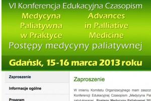 """Gdańsk: konferencja """"Postępy Medycyny Paliatywnej 2013"""""""