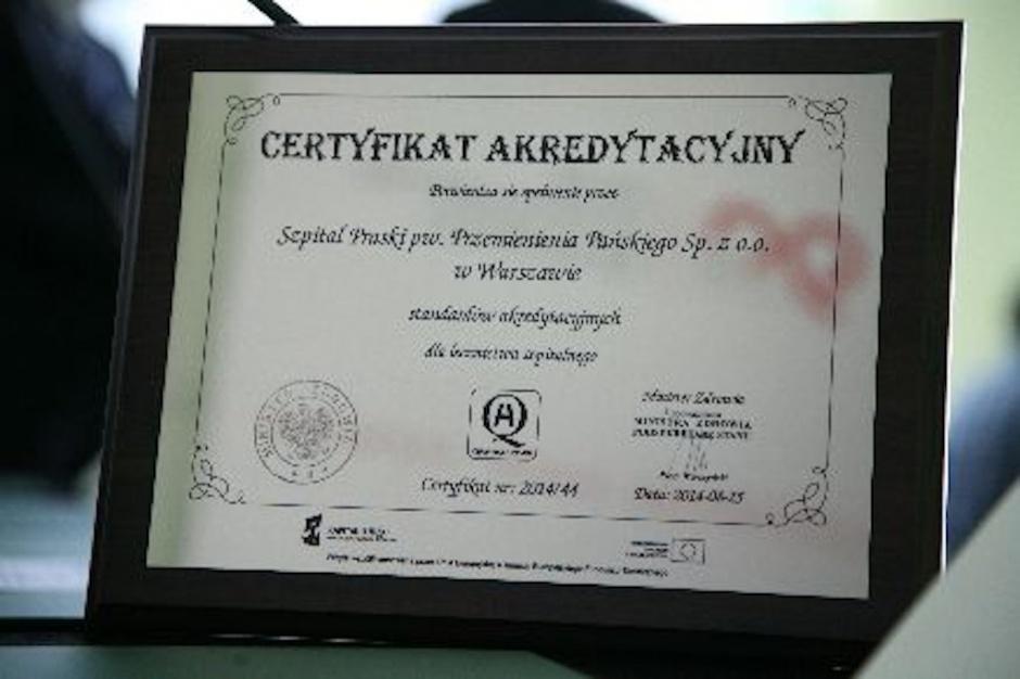 Szpital Praski z certyfikatem akredytacyjnym