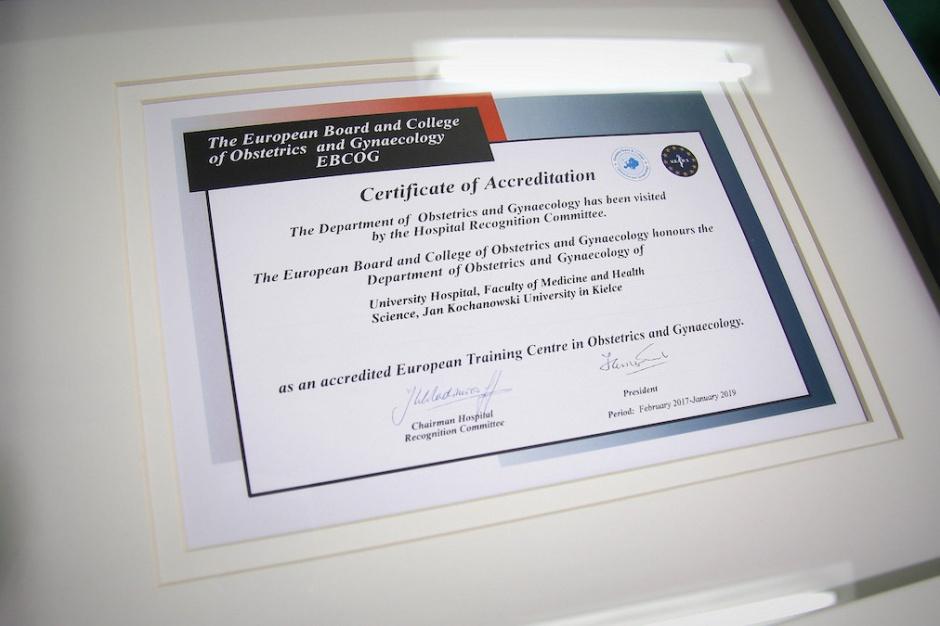 Kielce: Klinika Położnictwa i Ginekologii WSzZ z certyfikatem EBCOG