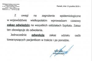 Poznań: zakaz odwiedzin oraz porodów rodzinnych do odwołania