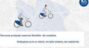 Medycy mogą za darmo jeździć na rowerach miejskich. Tak Nextbike dziękuję im za pracę