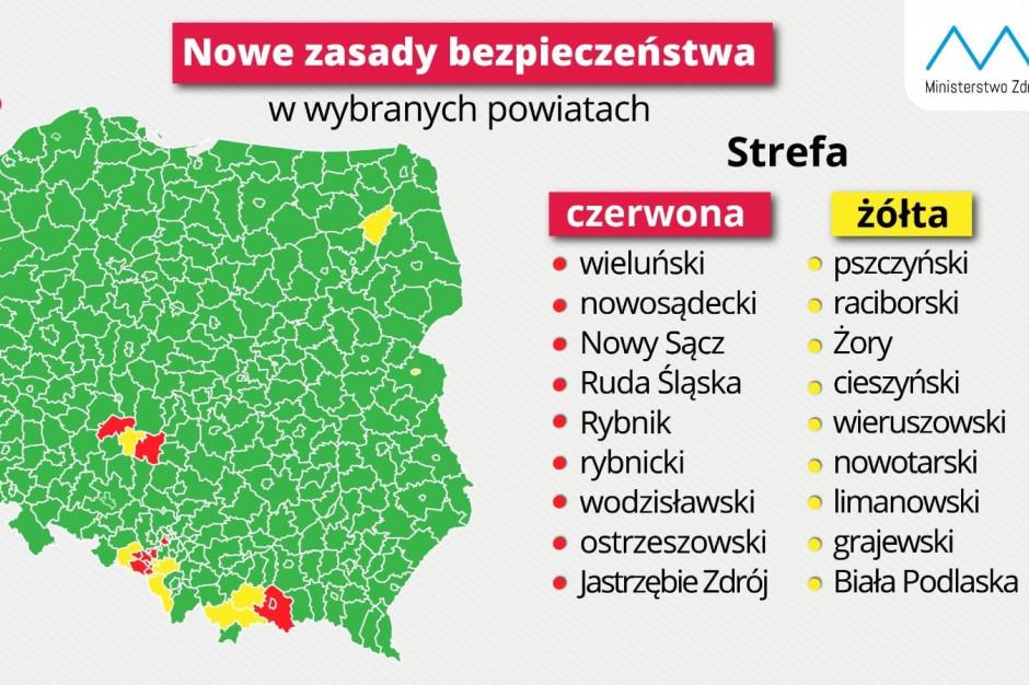 Wiceminister zdrowia: nowa lista czerwonych i żółtych obszarów, a na niej 18 powiatów i miast