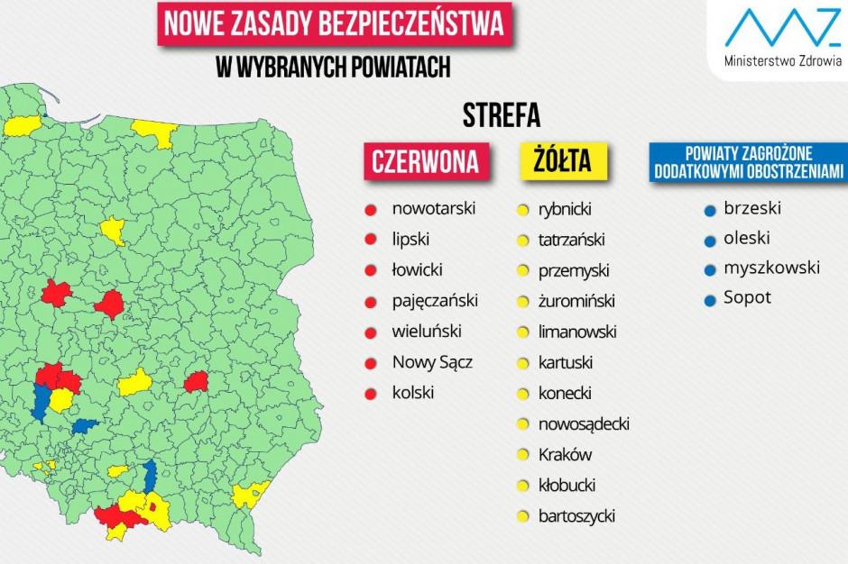 MZ: aktualna mapa powiatów w strefach czerwonej i żółtej z powodu COVID-19