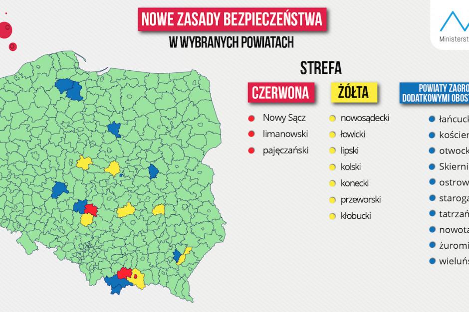 Resort zdrowia: zaktualizowana mapa powiatów w strefach czerwonej i żółtej z powodu COVID-19