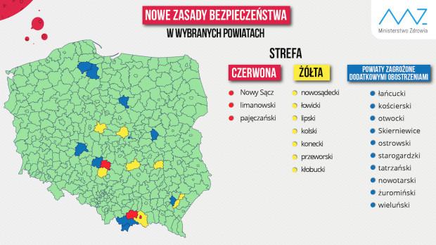 Nowa mapa obostrzeń z powodu koronawirusa FOT. Twitter/MZ
