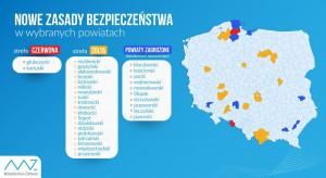 Ministerstwo Zdrowia: nowa mapa obostrzeń, w strefie czerwonej dwa powiaty, w żółtej - 19