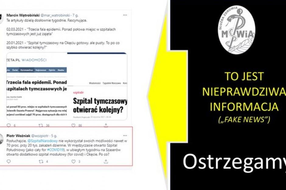 Mamy falę fake newsów o Szpitalu Narodowym - ostrzega CSK MSWiA i podaje przykłady