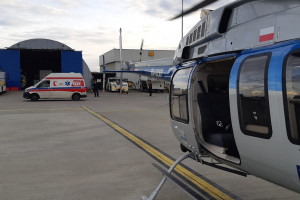 Serce do przeszczepu przyleciało policyjnym śmigłowcem do Śląskiego Centrum Chorób Serca w Zabrzu